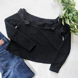 Zara Black Crepe Boatneck Top